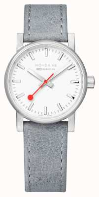 Mondaine SBB Evo2 Grey Leather Strap White Dial 30mm MSE.30110.LH