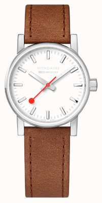 Mondaine SBB Evo2 Brown Leather Strap White Dial 30mm MSE.30110.LG