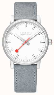 Mondaine SBB Evo2 Grey Leather Strap White Dial 40mm MSE.40110.LH