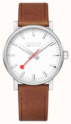 Mondaine SBB Evo2 Brown Leather Strap White Dial 40mm MSE.40110.LG