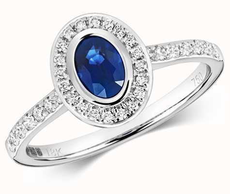 James Moore TH 9k White Gold Diamond Rubover Sapphire Ring RD441WS