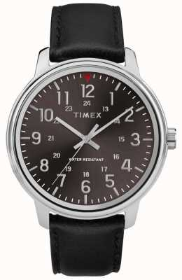 Timex Mens Classic Black Leather Brushed Black Dial TW2R85500