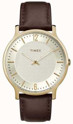 Timex Mens Metropolitan Watch 40mm Brown Leather Gold Tone Dial TW2R92000