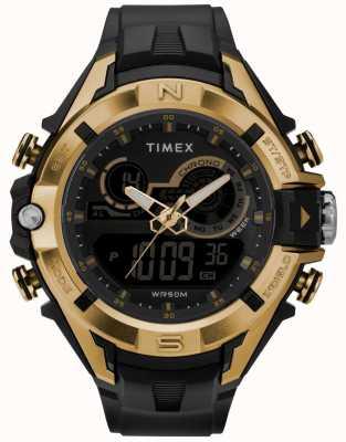 Timex Mens 47mm Black Case Gold Ring Black Strap TW5M23100
