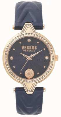 Versus Versace Womens V Versus Stone Set Blue Dial Blue Leather Strap SPCI340017