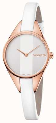 Calvin Klein Womens Rebel Watch White Leather Strap With Rose Gold Tone K8P236L6