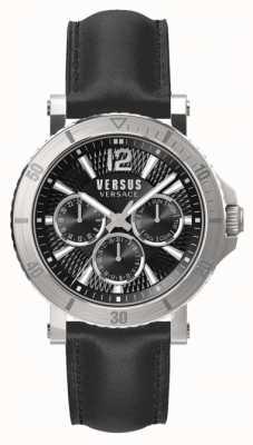 Versus Versace Mens Steenberg Black Dial Black Leather Strap SP52020018
