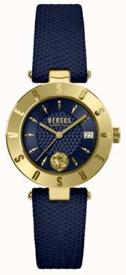 Versus Versace Womens Logo Blue Dial Blue Leather Strap SP77220018