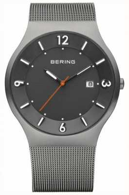 Bering Mens Solar Grey Dial Stainless Steel Mesh Strap 14440-077