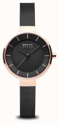 Bering Womens Solar, Sunray Dial, Rose Gold Case, Black Mesh Strap 14631-166