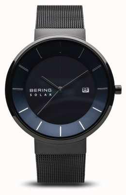 Bering Mens Solar Watch,blue Face, Black Mesh Strap 14639-227