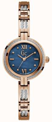 Gc Womens Cable Bijou Blue Dial Two Tone Bracelet Y39002L7