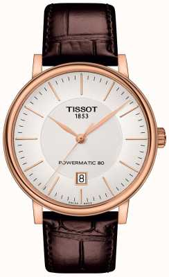 Tissot Mens Carson Automatic Rose Gold Plated Brown Leather Strap T1224073603100