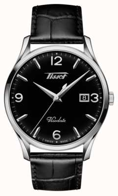 Tissot Mens Visodate Heritage Quartz Black Leather Black Dial T1184101605700