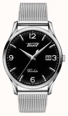 Tissot Mens Visodate Heritage Quartz Stainless Steel Black Dial T1184101105700