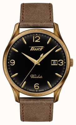 Tissot Mens Visodate Heritage Quartz Black/Gold Dial Brown Leather T1184103605700