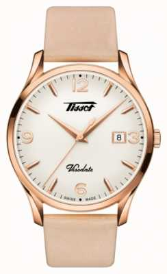 Tissot Womens Visodate Heritage Quartz Rose Gold Leather Strap T1184103627701