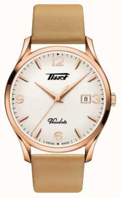 Tissot Womens Visodate Heritage Quartz Rose Gold Leather Strap T1184103627701