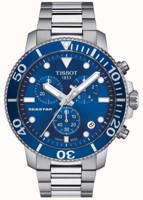 Tissot Mens Seastar 1000 Quartz Chronograph Blue/Stainless Steel T1204171104100