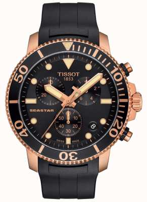 Tissot Mens Seastar 1000 Quartz Chronograph Black/Gold/Rubber Strap T1204173705100