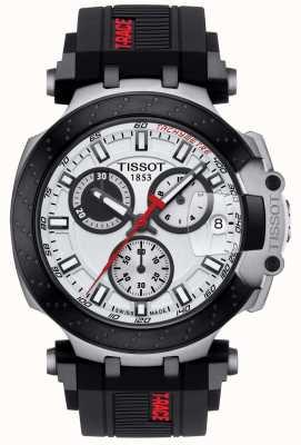 Tissot Mens T-Race Quartz Chrono Black Strap Silver Dial T1154172701100