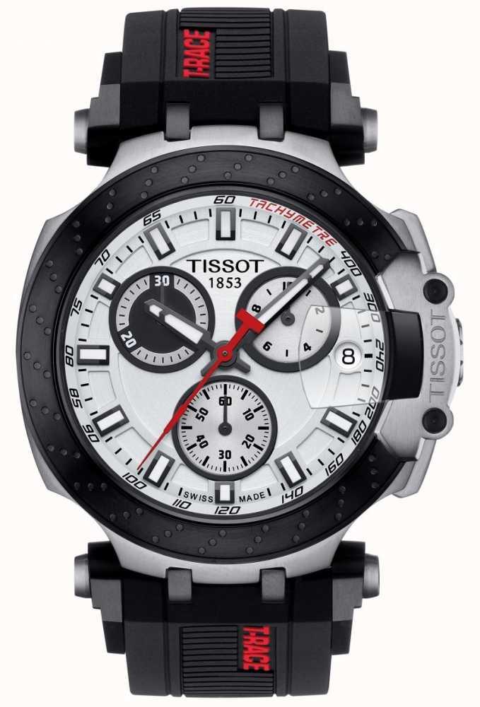 24780af201f Tissot Mens T-Race Quartz Chrono Black Strap Silver Dial ...