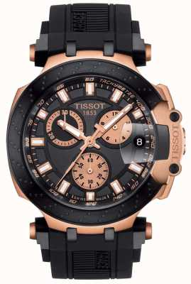 Tissot Mens T-Race Quartz Chrono Black Dial Gold Plated Accents T1154173705100