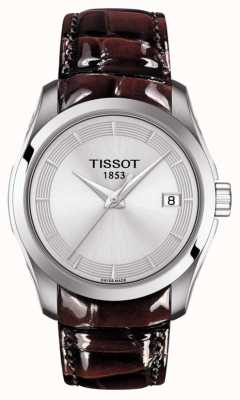 Tissot Womens Couturier Brown Leather Strap Silver Dial T0352101603103