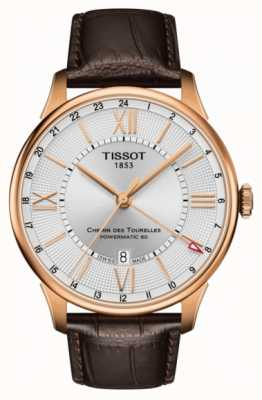 Tissot Mens Chemin Des Tourelles GMT Brown Leather Gold Plated Case T0994293603800