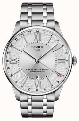 Tissot Mens Chemin Des Tourelles GMT Stainless Steel Silver Dial T0994291103800
