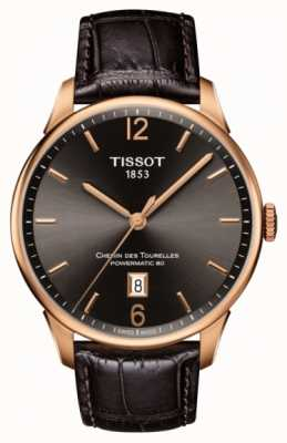 Tissot Chemin Des Tourelles Brown Leather Strap Rose Gold Plated T0994073644700