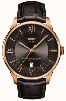 Tissot Mens Chemin Des Tourelles Brown Leather Strap Rose Gold Case T0994073644800