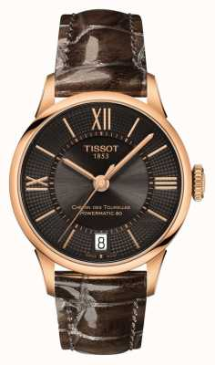 Tissot Womens Chemin Des Tourelles Brown Leather Strap Black Dial T0992073644800