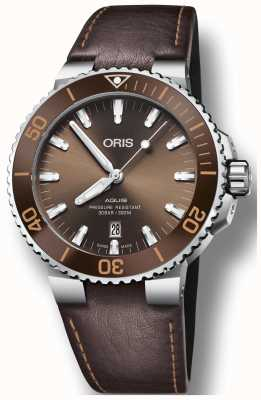 ORIS Mens Aquis Date Brown Leather Strap 01 733 7730 4152-07 5 24 12EB
