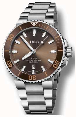 Oris Mens Aquis Date Brown Dial Stainless Steel Bracelet 01 733 7730 4152-07 8 24 05PEB