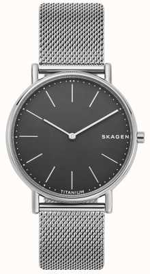 Skagen Mens Signatur Stainless Steel Mesh Bracelet Black Dial SKW6483