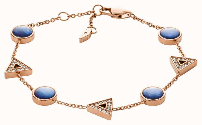 Fossil Womens Rose Gold Tone Blue Mother of Pearl Bracelet JF03012791