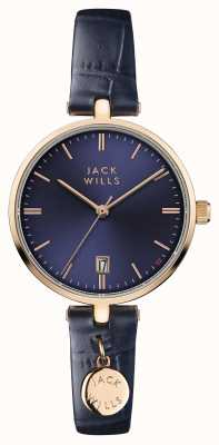 Jack Wills Womens Bennett Blue Dial Blue Leather Strap JW005BLRG
