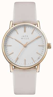 Jack Wills Womens Berry White Dial Pink Leather Strap JW013PKRS