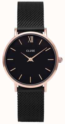 CLUSE Minuit Mesh Rose Gold And Black Watch CL30064