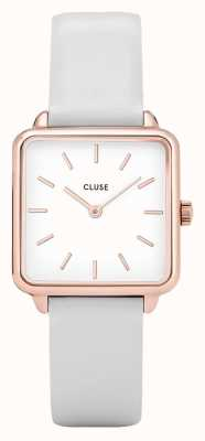 CLUSE Ladies La Garconne Watch Rose Gold With White Leather CL60006