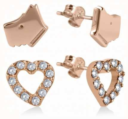 Radley Jewellery Rose Gold Stone Set Heart And Dog Head Earrings RYJ1036B