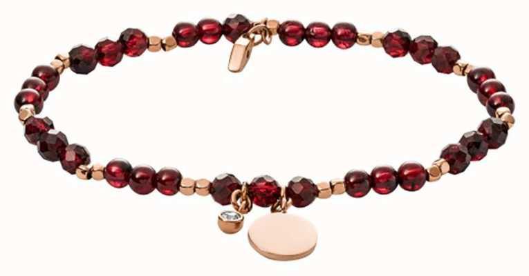 Fossil Vintage Iconic Garnet Bead Bracelet JA6985791