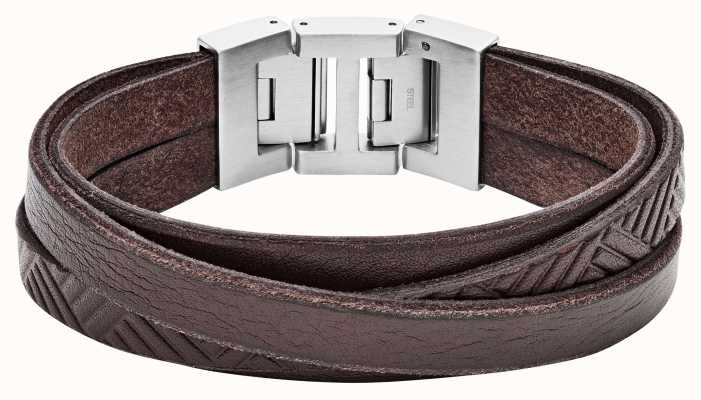 Fossil Mens Vintage Casual Brown Leather Wrap Bracelet JF02999040