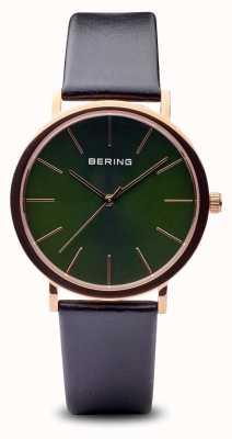 Bering Classic   Polished Rose Gold Black Strap 13436-469