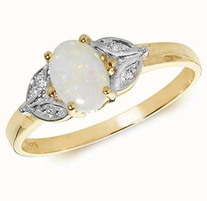 Treasure House 9k Yellow Gold Diamond Opal Ring RD299O
