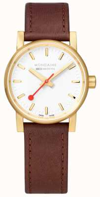 Mondaine Ladies Evo2 Gold PVD Leather Strap Watch MSE.30111.LG