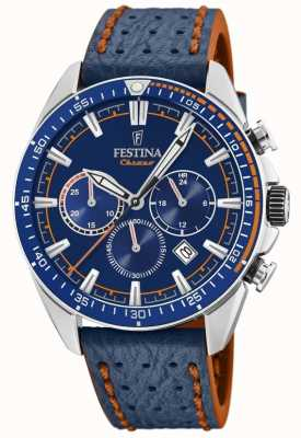 Festina Mens Chronograph Blue Dial Blue Leather Strap F20377/2
