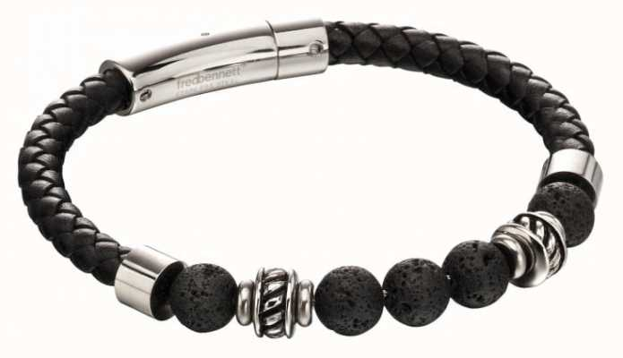 Fred Bennett Black Lava Bead Leather Stainless Steel Bracelet B5097