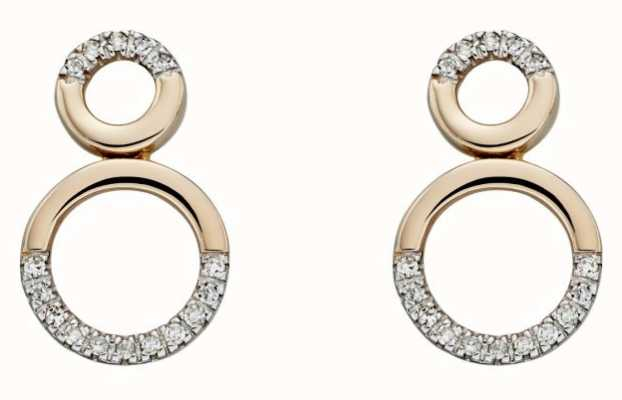 Elements Gold 9ct Yellow Gold And  Diamond Circular Detail Earrings GE2208